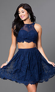 Image of two-piece navy blue short lace homecoming dress. Style: TE-T1031 Front Image