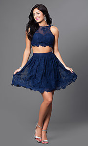 Image of two-piece navy blue short lace homecoming dress. Style: TE-T1031 Detail Image 1