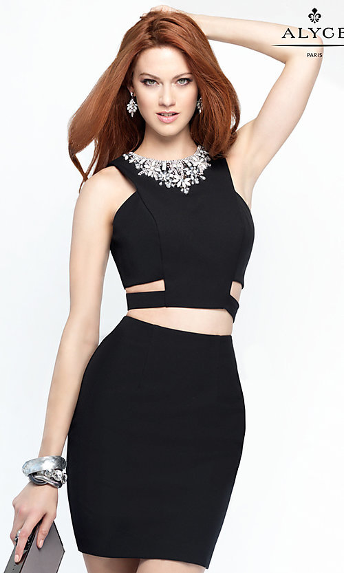 Image of two-piece Alyce party dress with cut outs. Style: AL-4452 Front Image