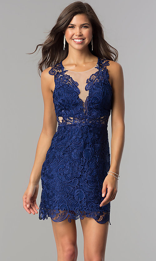 Image of blue floral-lace short homecoming party dress. Style: DMO-J314816 Front Image