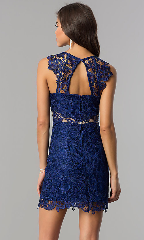 Image of blue floral-lace short homecoming party dress. Style: DMO-J314816 Back Image