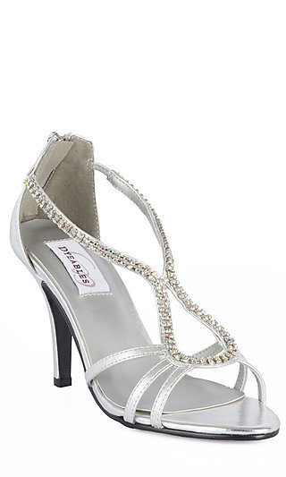 Silver Metallic Open Toe Heels