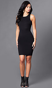 Image of short black homecoming dress with back cut outs. Style: AC-DX22076B Detail Image 1