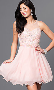 Image of short homecoming party dress with illusion bodice. Style: DQ-9544 Front Image