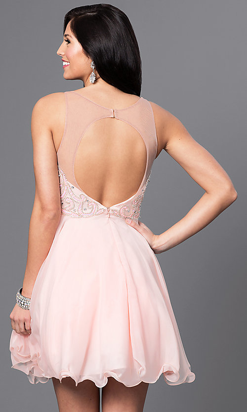 Image of short homecoming party dress with illusion bodice. Style: DQ-9544 Back Image