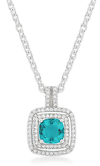 Silver and Turquoise Pendant Necklace by Le Chic