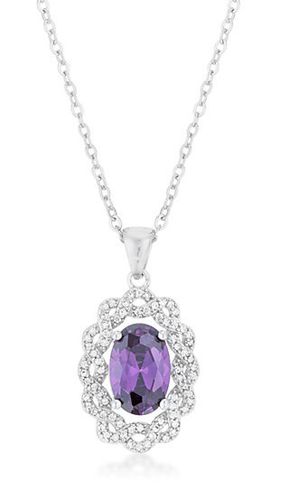 Purple Cubic Zirconia Pendant Necklace