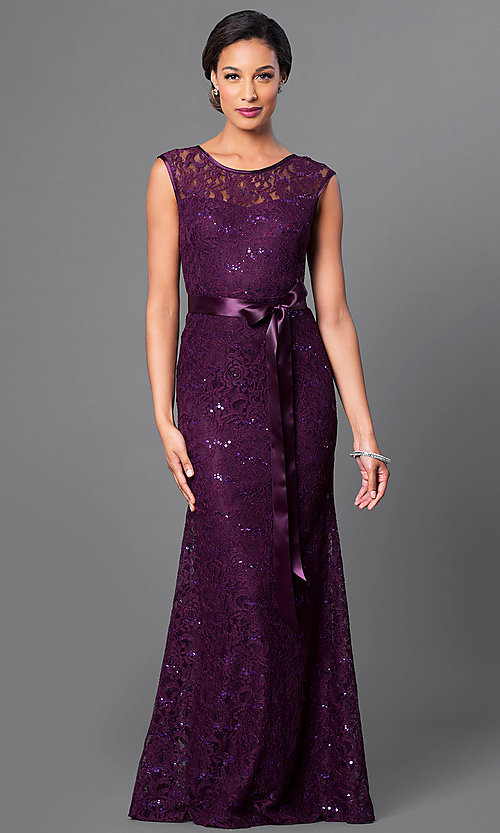 Image of long sequined-lace formal dress with bow. Style: SF-8834 Front Image