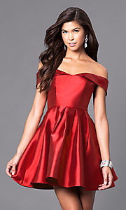 Image of satin off-the-shoulder short homecoming party dress. Style: LP-24049 Detail Image 1