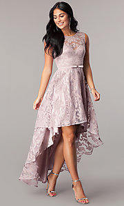 Image of high-low lace sleeveless semi-formal dress. Style: LP-24056 Detail Image 1