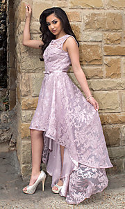 Image of high-low lace sleeveless semi-formal dress. Style: LP-24056 Front Image