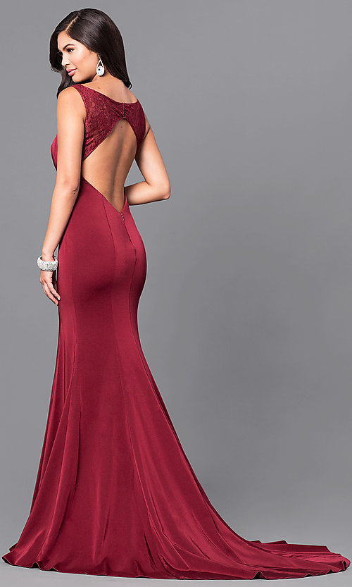 Image of long dark burgundy red scoop-neck prom dress. Style: MF-E2042 Front Image