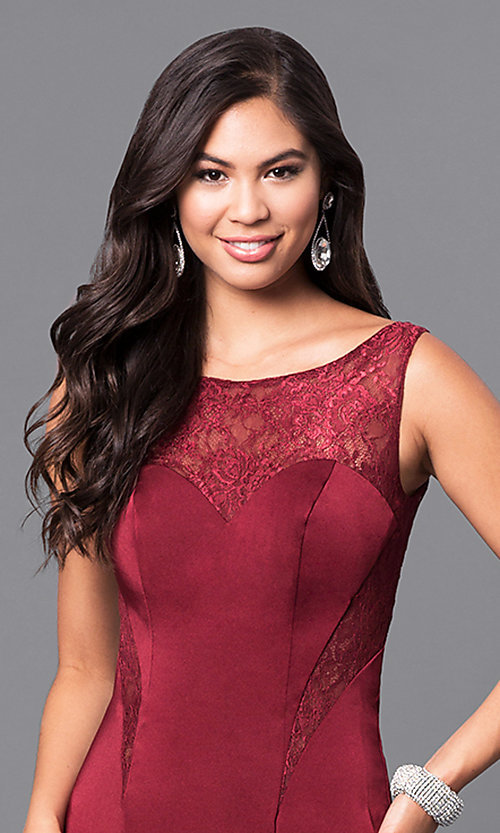 Image of long dark burgundy red scoop-neck prom dress. Style: MF-E2042 Detail Image 1