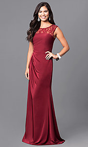 Image of sleeveless long burgundy red formal prom dress. Style: MF-E2079 Front Image