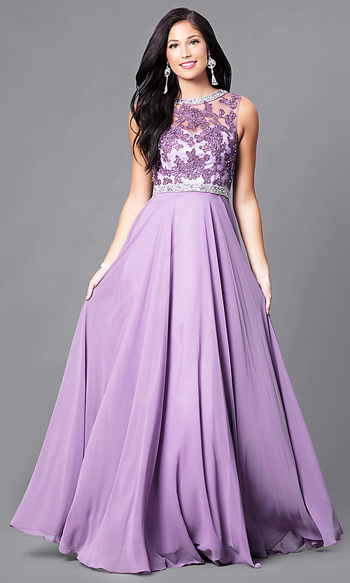 Image of high-neck sleeveless long formal prom dress. Style: DQ-9458 Front Image