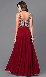 Image of chiffon long prom dress with v-neck beaded bodice. Style: DQ-9589 Back Image