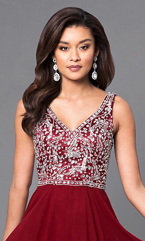 Image of chiffon long prom dress with v-neck beaded bodice. Style: DQ-9589 Detail Image 1
