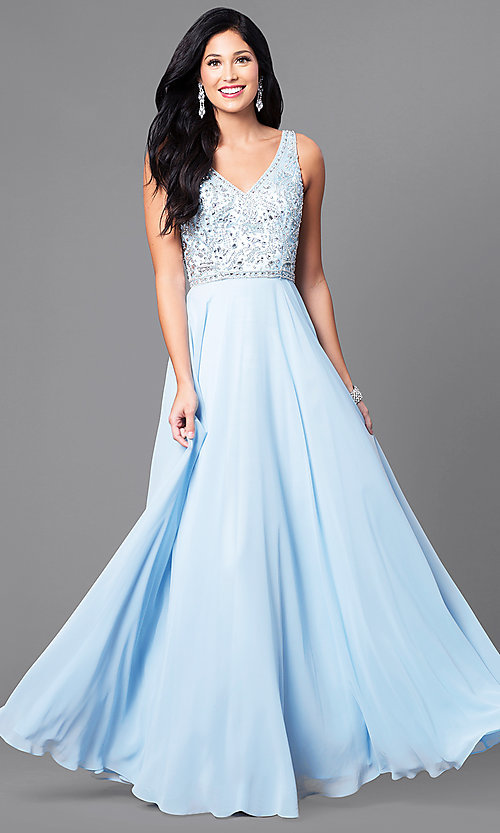 Image of chiffon long prom dress with v-neck beaded bodice. Style: DQ-9589 Detail Image 2