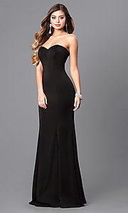 Image of long strapless prom dress with trumpet silhouette. Style: DQ-9607 Front Image