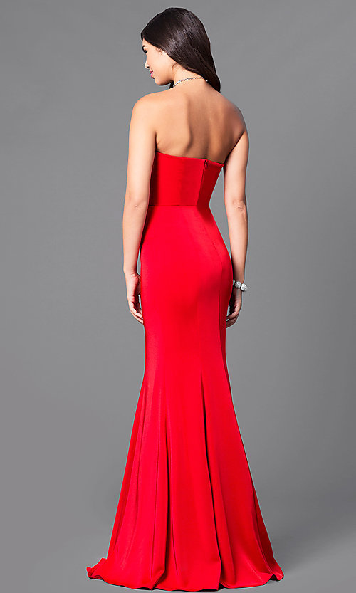 Image of long strapless prom dress with trumpet silhouette. Style: DQ-9607 Back Image