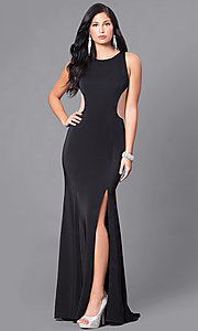 Image of long prom dress with open illusion back.  Style: DJ-5056 Detail Image 1
