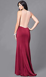 Image of long prom dress with open illusion back.  Style: DJ-5056 Back Image
