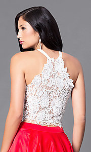 Image of two-piece high-low prom dress with lace bodice. Style: DJ-A4825 Detail Image 2