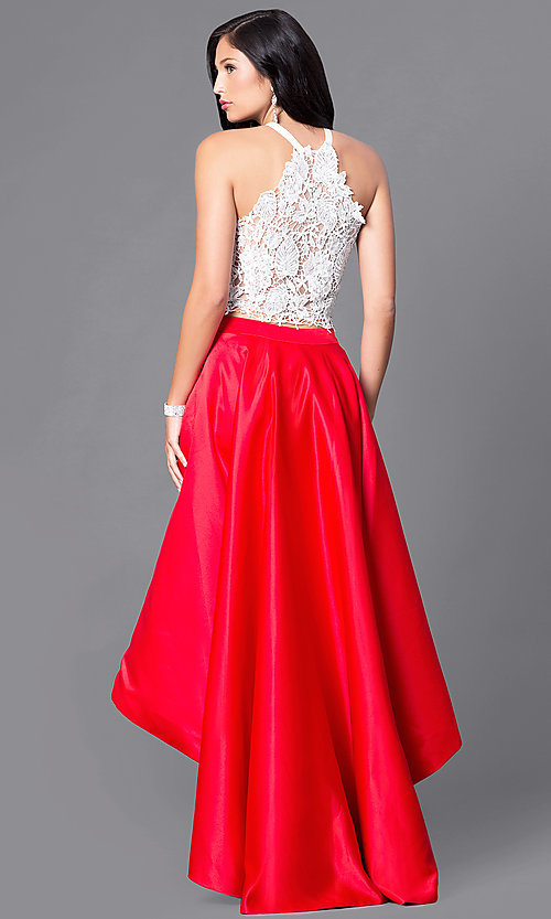 Image of two-piece high-low prom dress with lace bodice. Style: DJ-A4825 Back Image