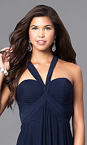 Image of floor-length prom dress with sweetheart v-strap. Style: DJ-A5043 Detail Image 1