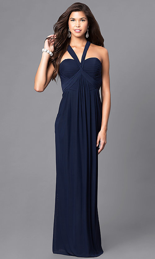 Image of floor-length prom dress with sweetheart v-strap. Style: DJ-A5043 Front Image