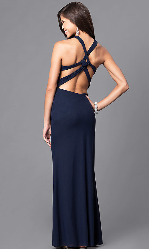 Image of floor-length prom dress with sweetheart v-strap. Style: DJ-A5043 Back Image