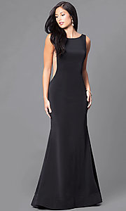 Image of backless long black formal prom dress with train. Style: DJ-A5177 Front Image