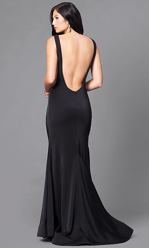 Image of backless long black formal prom dress with train. Style: DJ-A5177 Back Image