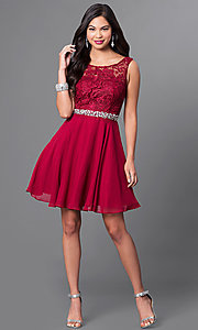 Image of short a-line homecoming dress with lace bodice. Style: DQ-9659 Detail Image 2