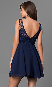 Image of short a-line homecoming dress with lace bodice. Style: DQ-9659 Back Image