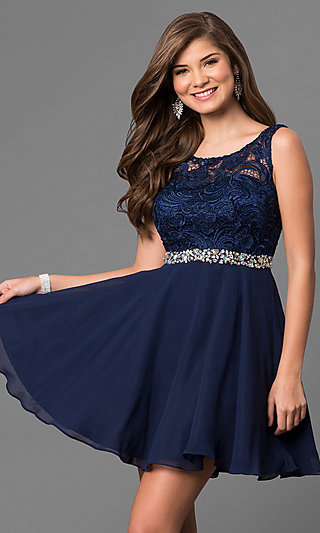 Short A-Line Homecoming Dress with Lace Bodice