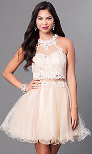 Image of mock two-piece rolled-hem babydoll party dress. Style: DQ-9631 Front Image
