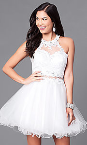 Image of mock two-piece rolled-hem babydoll party dress. Style: DQ-9631 Detail Image 2