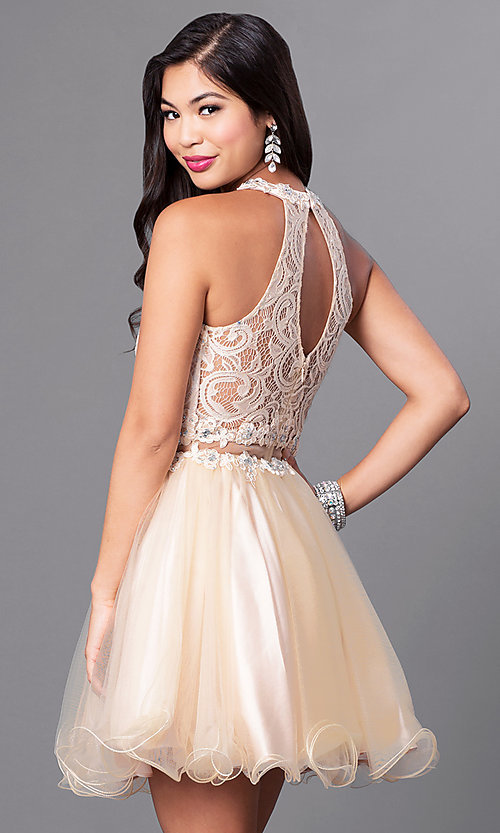 Image of mock two-piece rolled-hem babydoll party dress. Style: DQ-9631 Back Image