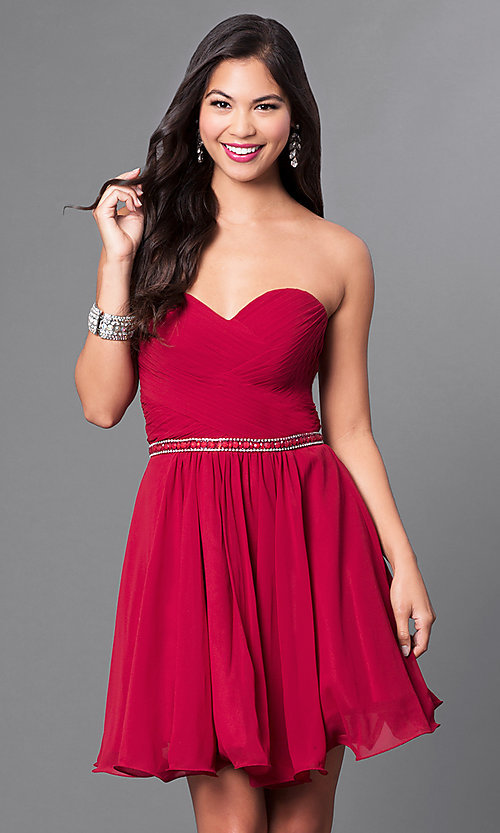 Image of ruched strapless corseted homecoming party dress.  Style: DQ-9581 Front Image