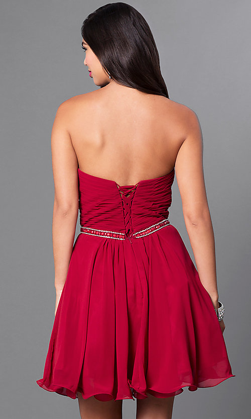 Image of ruched strapless corseted homecoming party dress.  Style: DQ-9581 Back Image