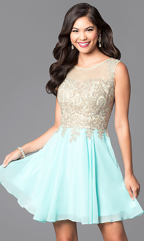 Image of short prom dress with jewel-embellished sheer bodice.  Style: FB-GS1336 Front Image