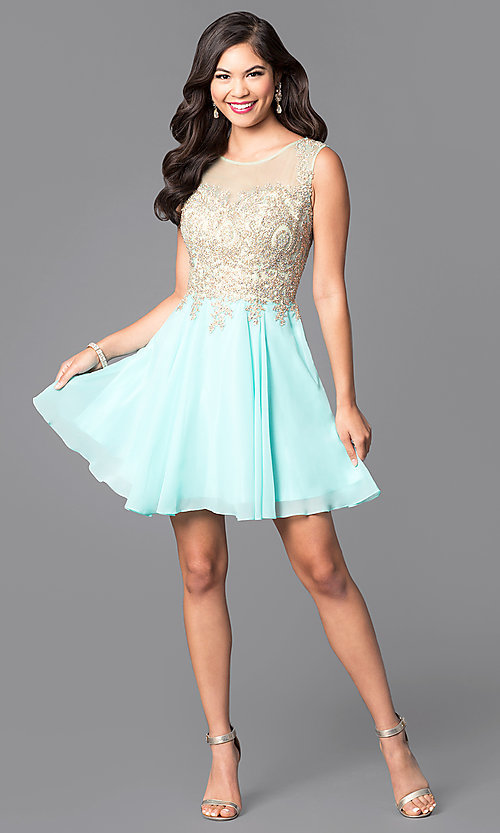 Image of short prom dress with jewel-embellished sheer bodice.  Style: FB-GS1336 Detail Image 3