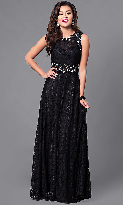 Image of floor-length sleeveless lace dress. Style: FB-GL1460 Front Image