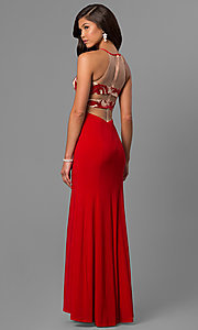 Image of long red prom dress with sequin and print bodice.  Style: DMO-J315456 Back Image