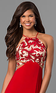 Image of long red prom dress with sequin and print bodice.  Style: DMO-J315456 Detail Image 1