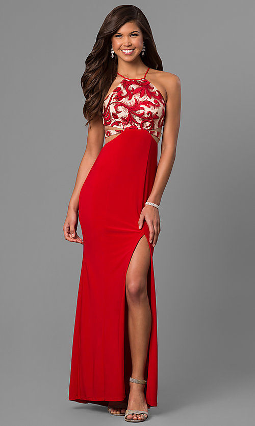 Image of long red prom dress with sequin and print bodice.  Style: DMO-J315456 Front Image