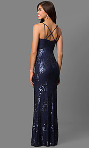 Image of navy blue cutout long prom dress with sequins. Style: DMO-J315156 Back Image