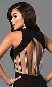 Image of black junior prom dress with jeweled straps. Style: DMO-J315486 Detail Image 1
