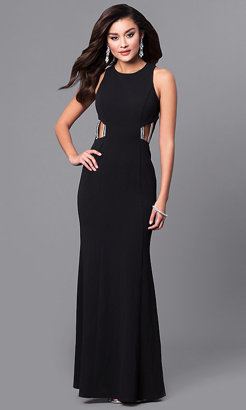 Image of black junior prom dress with jeweled straps. Style: DMO-J315486 Front Image